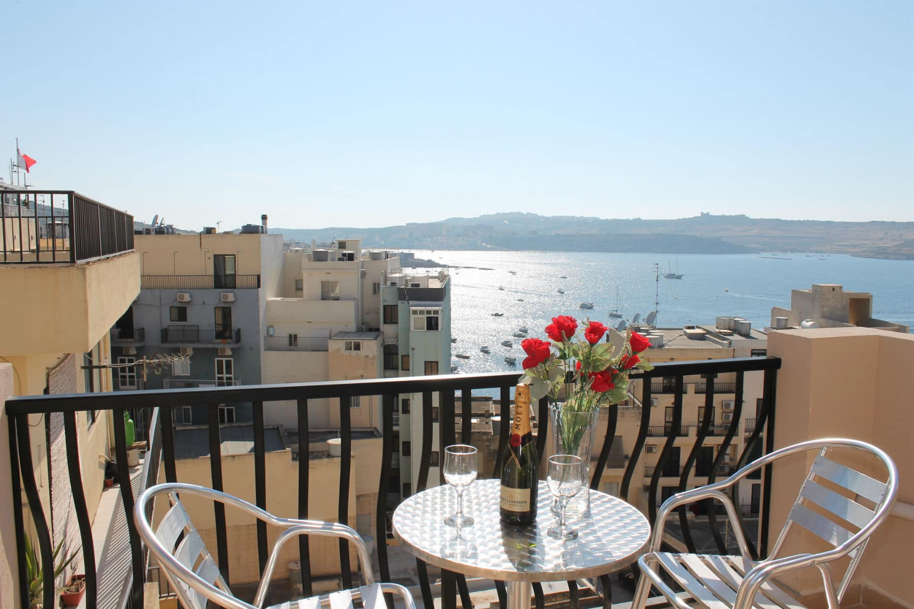 back terrace with great views for Bugibba harbour and St Paul`s bay
