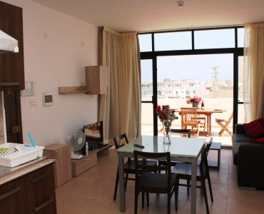 Combined Kitchen Dining Room seashells-1-bedroom-Sea view Holiday penthouse