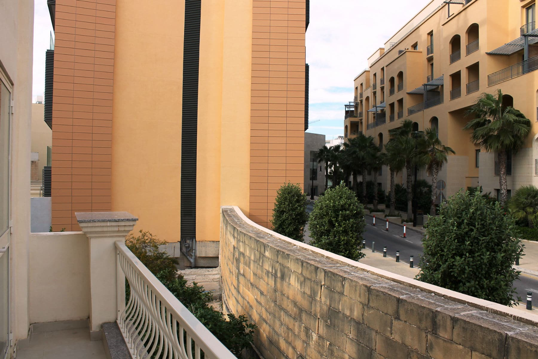 Back balcony overlooking PortoMaso/Hilton complex Big apartment in St Julian`s close to Paceville nightlife area