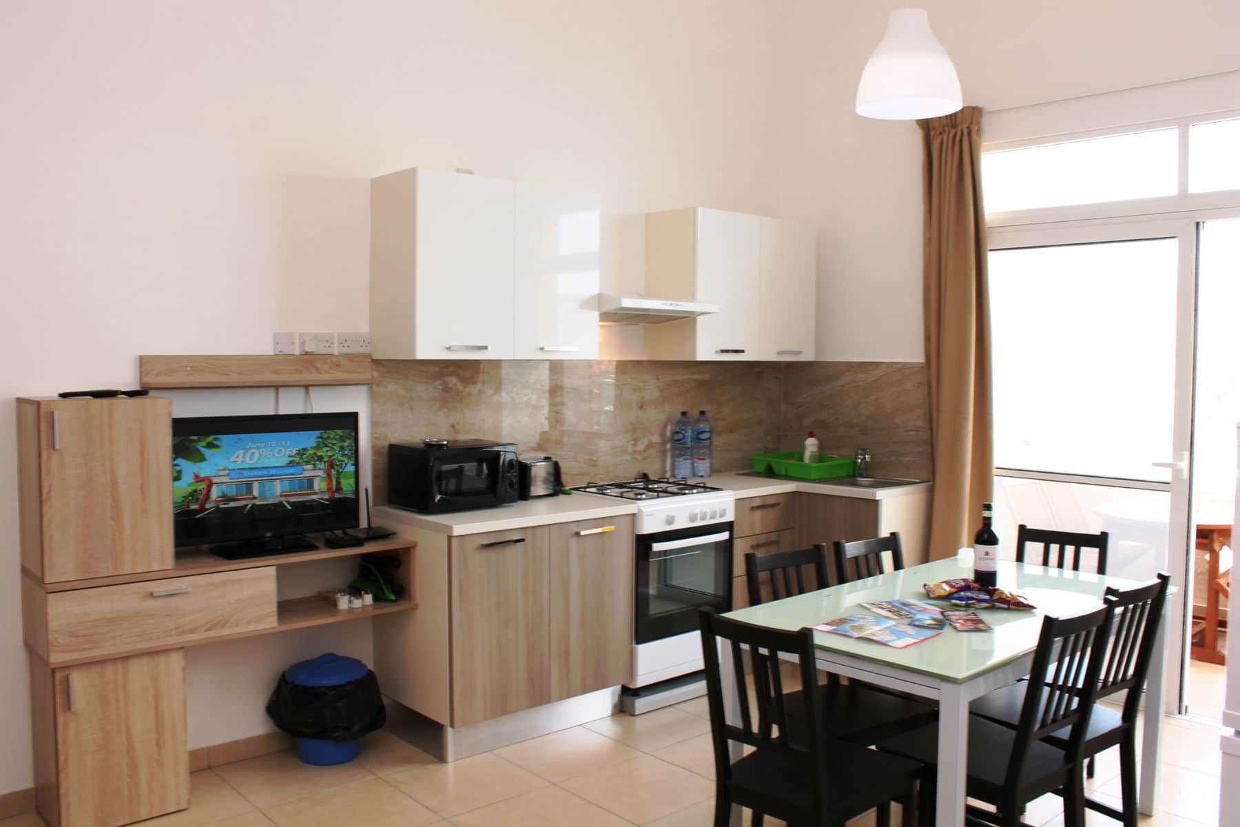 Brand New Fully Equipped Kitchen/Living/Dining.  Seafront holiday apartment with terrace