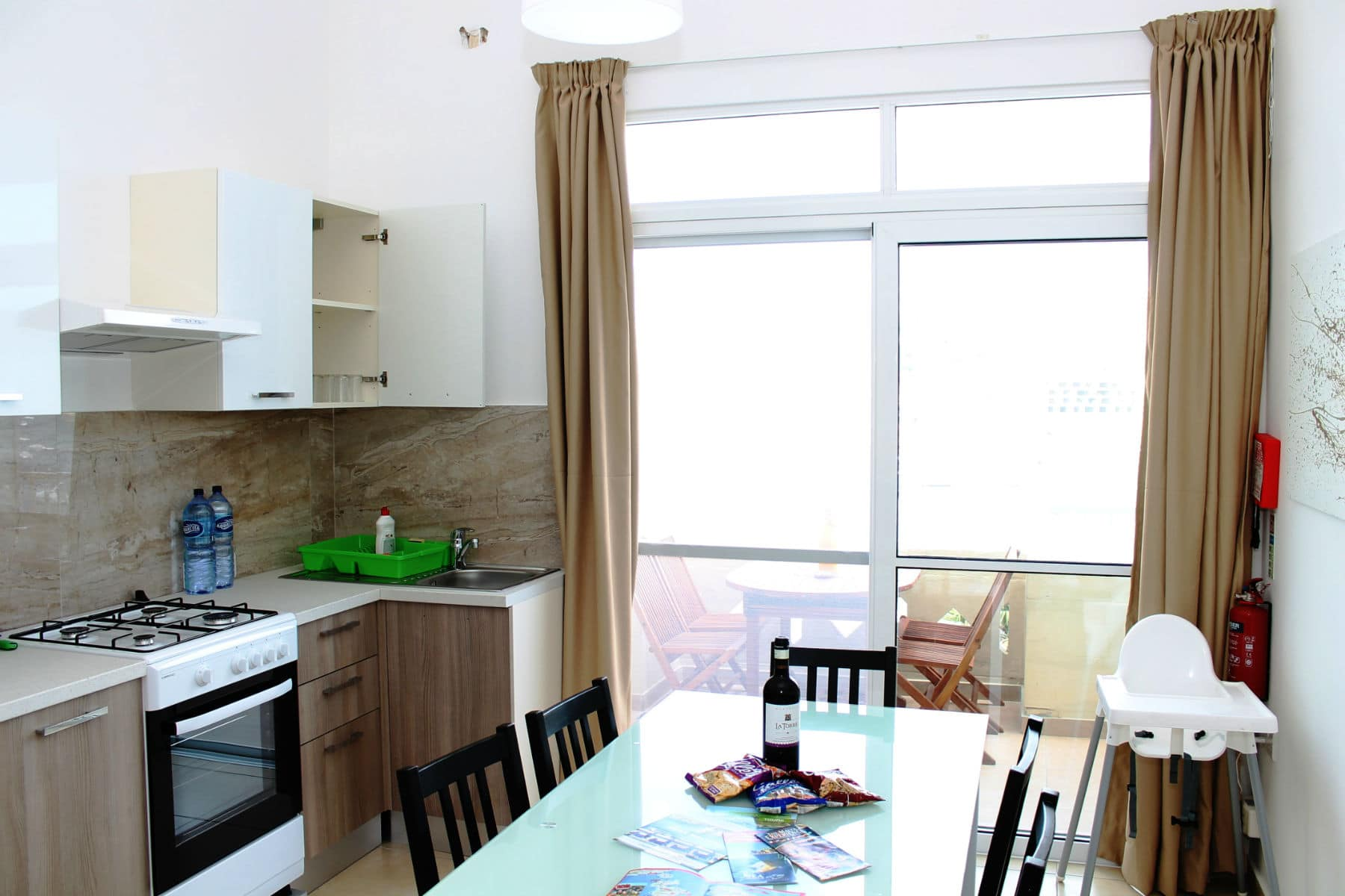 Brand New Kitchen/Dining Leading to Seaview Terrace.  Seafront holiday apartment with terrace