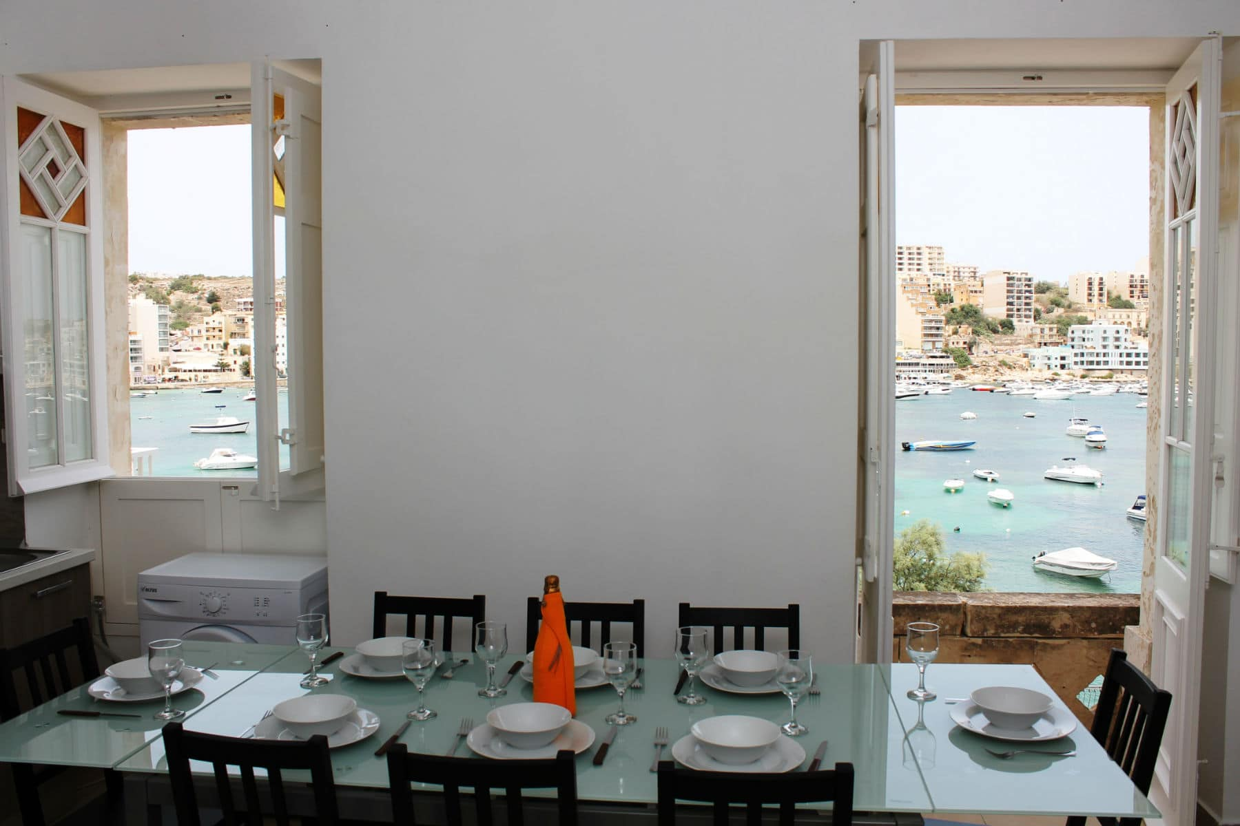 Fully Equipped Kitchen/Living/Dining With Breathtaking Seaviews. Blue Harbour no 2 large seafront holiday apartment