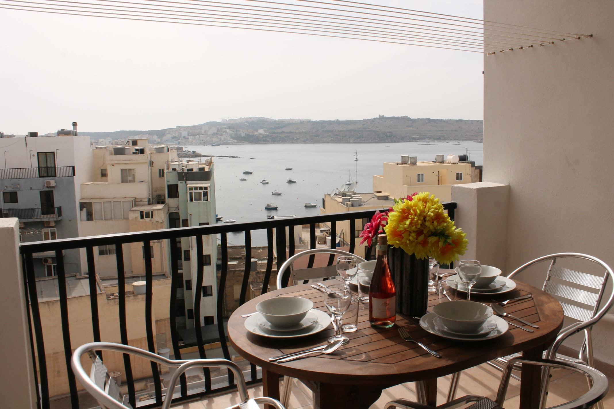 Holidays to Bugibba Malta - Terrace Seaview